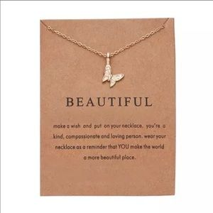 Dainty Gold Necklace w/ Butterfly Pendant